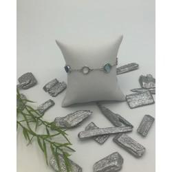 ZinZi Zilveren Armbandje Rond Grijs Vierkant Blauw ZIA 1726