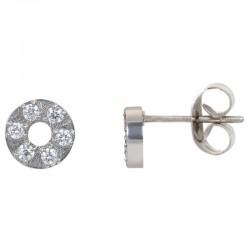 ixxxi oorstekers circle stone - zilver 6mm